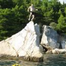 Kajak auf dem Meer und Tauchen, Split, Dalmatien, Kroatien
