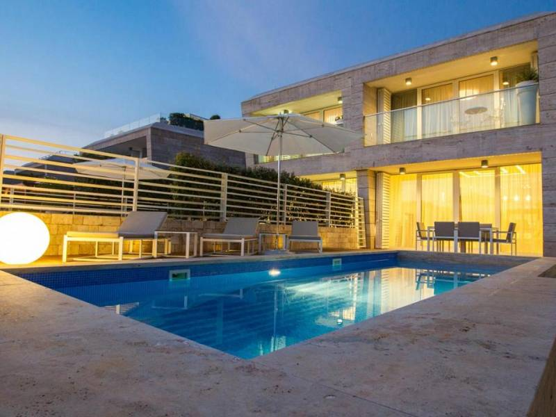 Villa with pool, direct on the sea, Punta Skala, Petrcane, Zadar, Dalmatia, Croatia