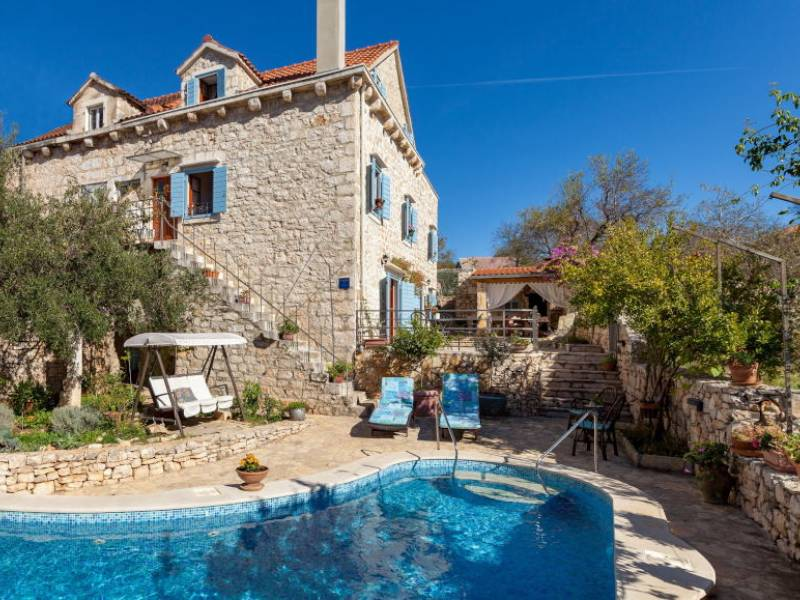 Villa Milna with pool, island Brac, Dalmatia, Croatia