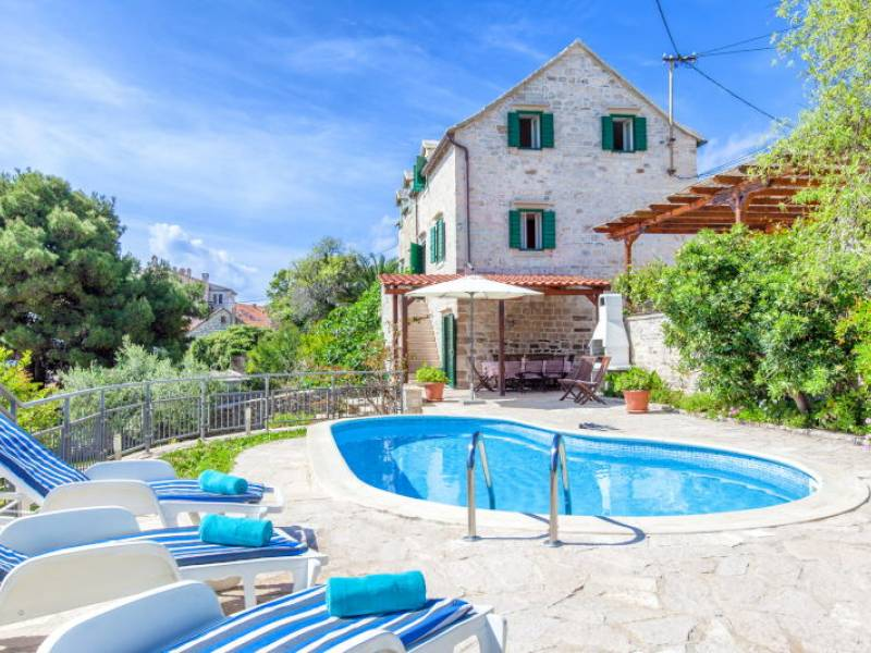 Dalmatian house with pool, Sumartin, island Brac, Dalmatia, Croatia